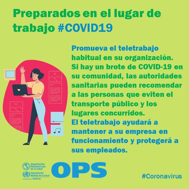 Replying to @OPSOMSMexico: ✅ Preparados en el lugar de trabajo 💼 #COVID19 - Promueve el teletrabajo.  🏡🧍📱←💬→📱🧍🏡