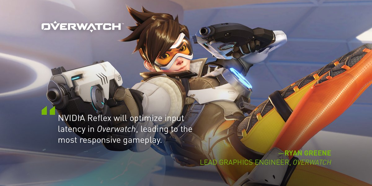 The teams @Blizzard_Ent are bringing NVIDIA Reflex to Overwatch for all GeForce 900 series GPUs and newer.  #FramesWinGames 👉