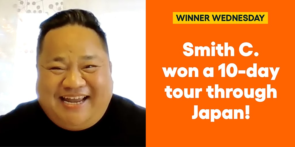 Smith C. won a 10-day tour through Japan! #omaze #omazetravels #omazewinners #winnerwednesday