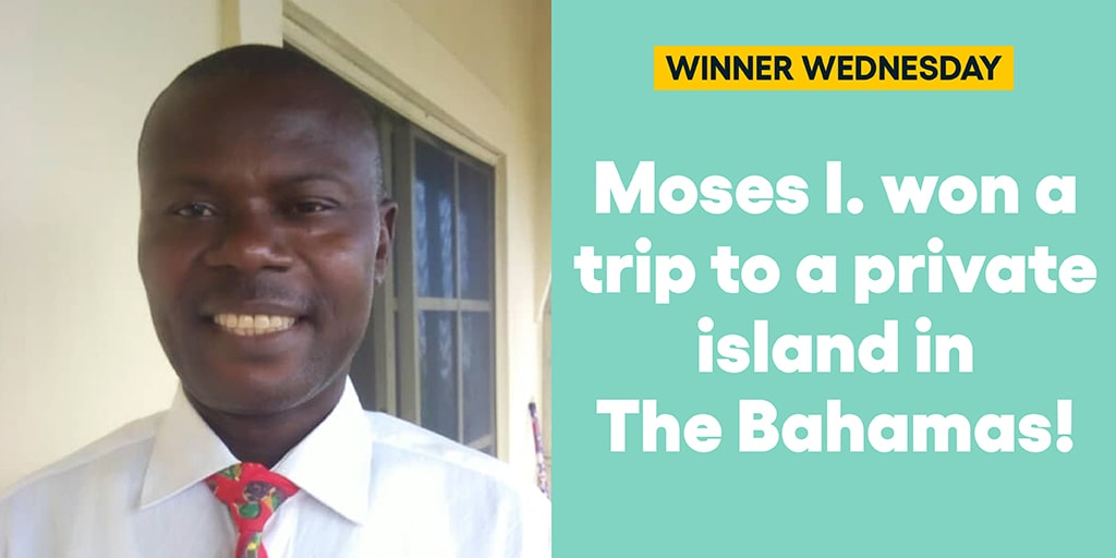 Moses I. won a trip to a private island in The Bahamas! #omaze #omazetravels #omazewinners #winnerwednesday