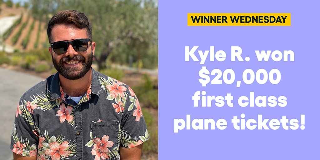 Kyle R. won $20,000 first class plane tickets! #omaze #omazetravels #omazewinners #winnerwednesday