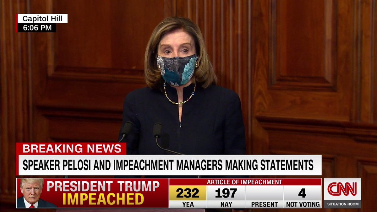 """House Speaker Nancy Pelosi signs the article of impeachment against President Donald Trump, for a second time, following a bipartisan House vote: """"No one is above the law, not even the President of the United States"""""""