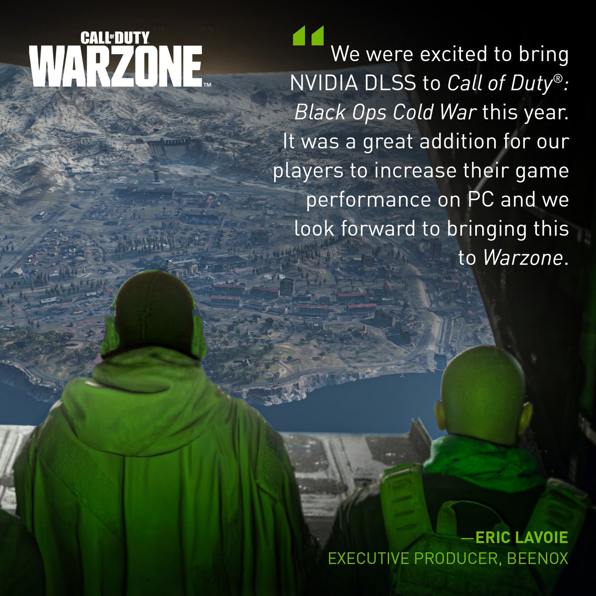 Powered by AI and NVIDIA GeForce RTX GPUs, one of the world's biggest games is about to get even faster.   NVIDIA DLSS is coming to Call of Duty: #Warzone, taking visual fidelity to a whole new level.  Learn more 👉