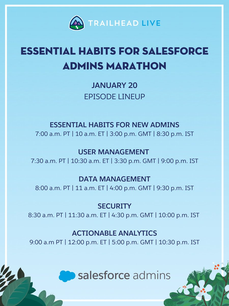 Mark your calendars 📅 for an Essential Habits Marathon on Trailhead LIVE!  On Jan. 20, tune in for all 5 episodes back-to-back: ✨ Essential Habits for New Admins 👥 User Management  📒 Data Management  🔒 Security  📈 Actionable Analytics   Details here: