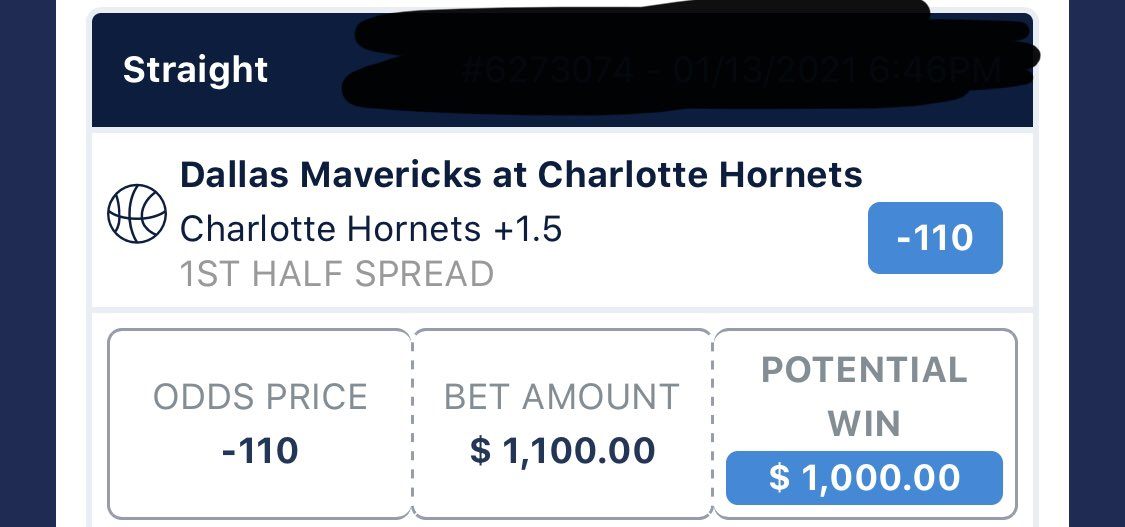 NBA Pick of the Day 🏀⭐️  Charlotte Hornets +1.5 in First Half vs. Dallas Mavericks (2U)  $1,100 bet to win $1,000   As always, please bet responsibly   #GamblingTwitter #MercenaryBet https://t.co/loODw0K88T