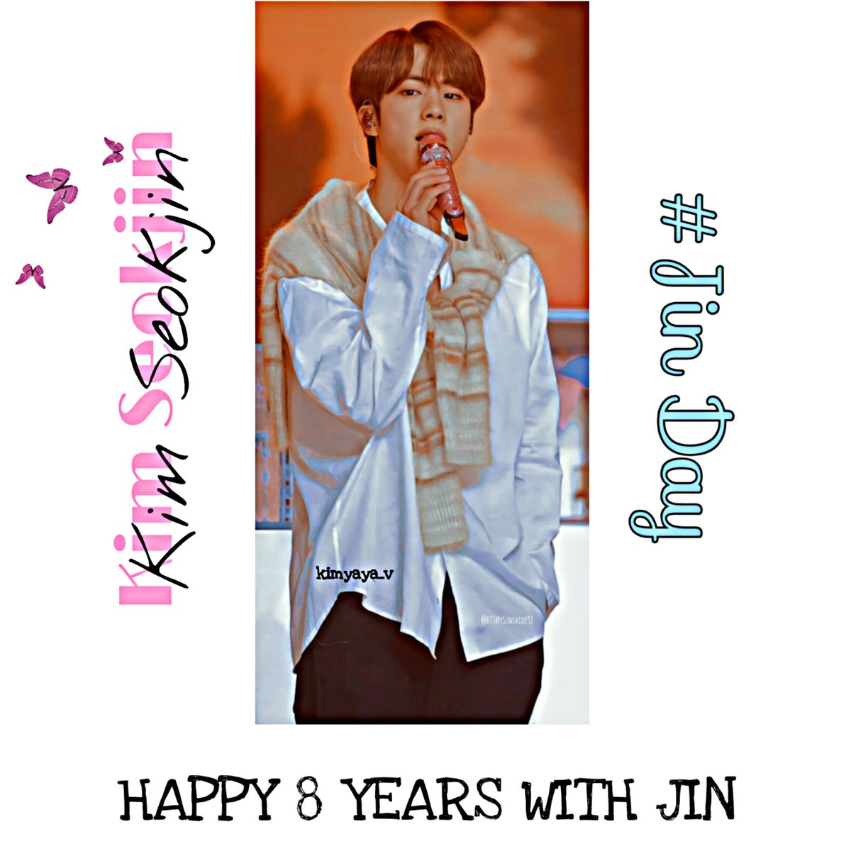 Happy 8 Years With Our Singer Jin ✨ @BTS_twt ❤👑 #HappyJinDay 🐹💜 #Happy8YearsWithMoon 🌝🌙💜