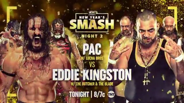 This is going to be an absolute brawl! It's @BASTARDPAC vs. #EddieKingston (@MadKing1981) in singles action TONIGHT!  Watch Night Two of the New Year's Smash on @TNTDrama at 8e/7c. #AEWDynamite