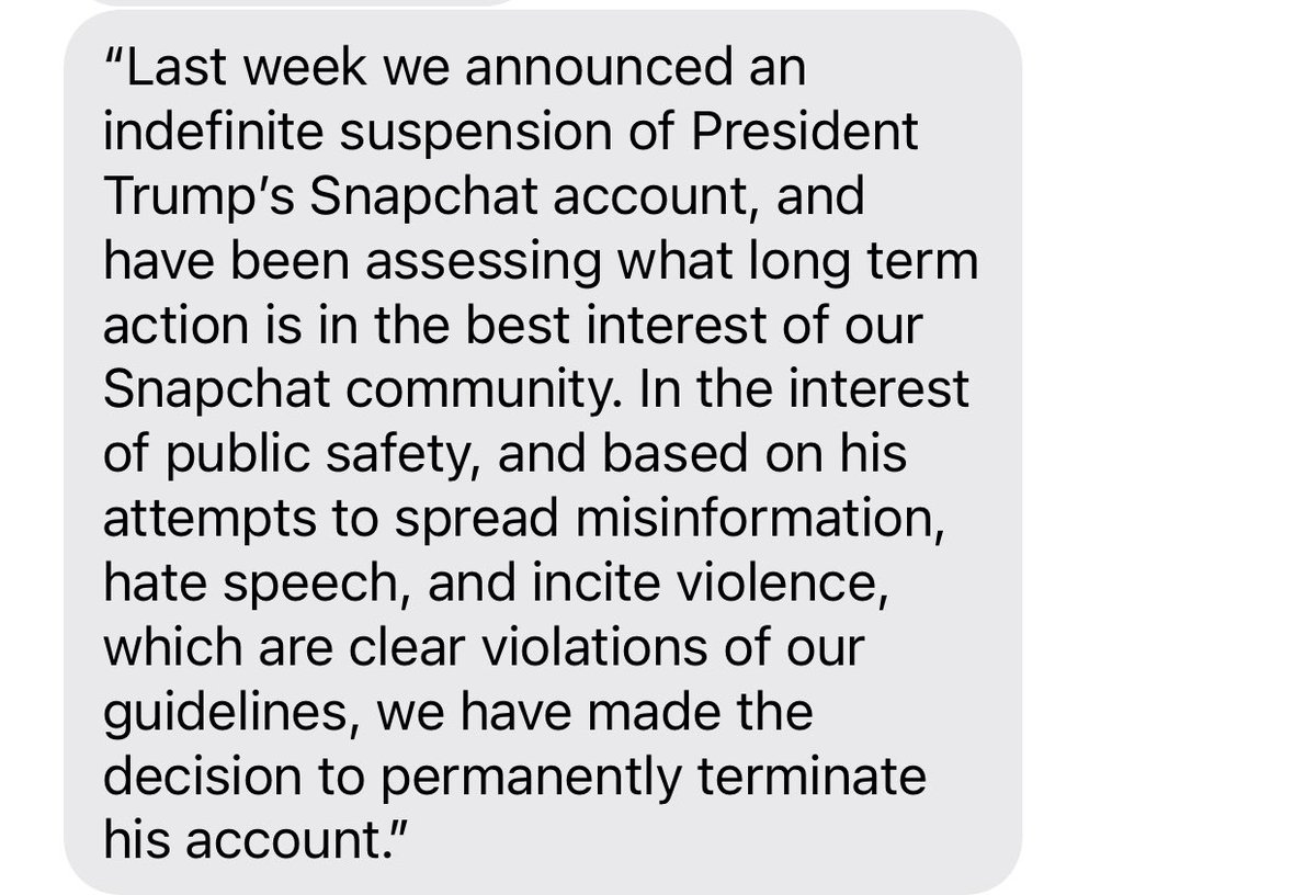 Snapchat is permanently banning Trump. Statement from company: