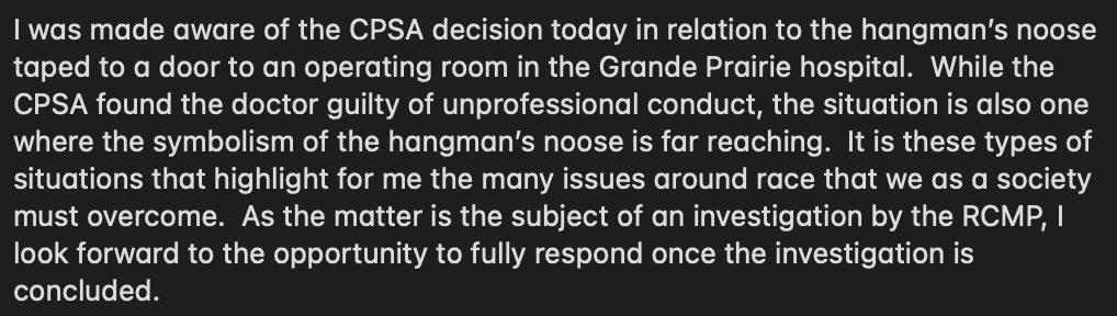 My statement on the incident at Grande Prairies Queen Elizabeth II Hospital in June 2016.