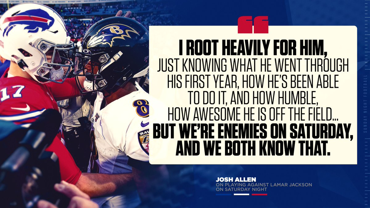 """.@JoshAllenQB is set to face @Lj_era8 in the #DivisionalRound.  The two first-round 2018 NFL draft picks share mutual respect, but are """"enemies on Saturday"""" fighting for a spot in the AFC Championship."""
