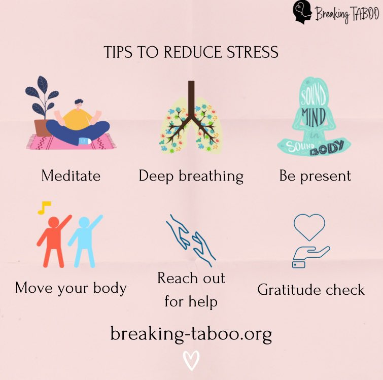 How do you reduce stress? 🧐 Check out our Instagram for more! #Mentalhealth #stressrelief #breakingtaboo