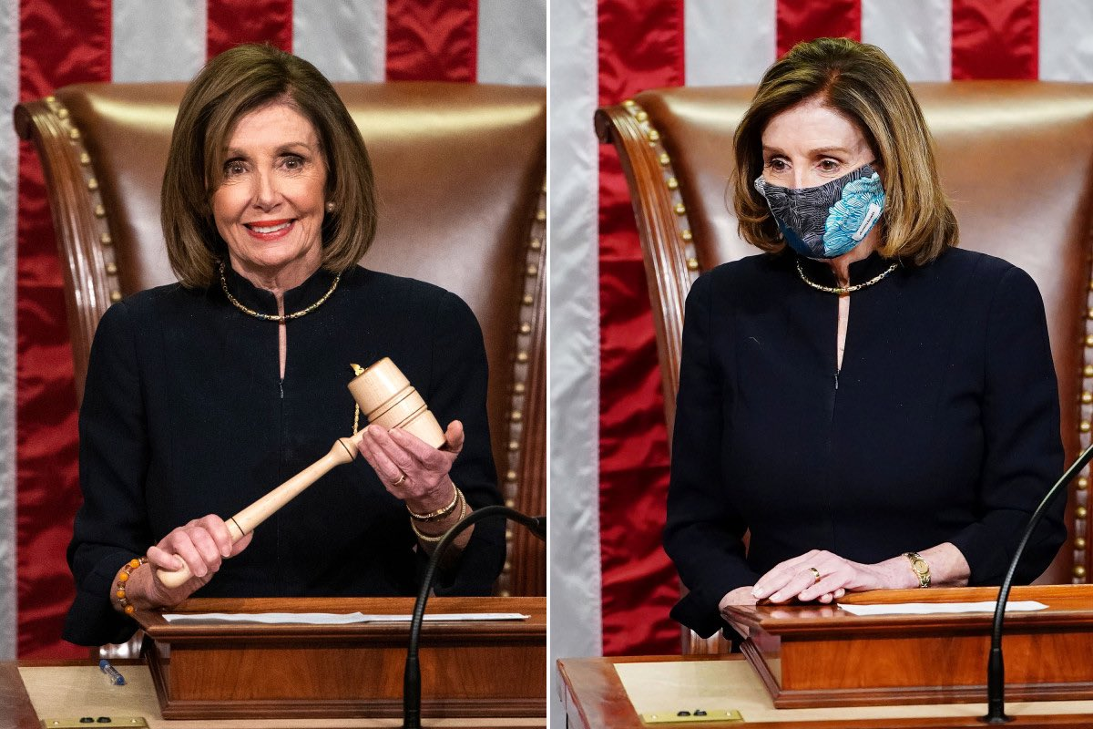 OMG!! Nancy Pelosi wore the same dress for both Trump impeachments. Clearly, her lucky dress!💙  #2X🇺🇸⚖️  #TrumpInsurrection  #ImpeachmentDay2