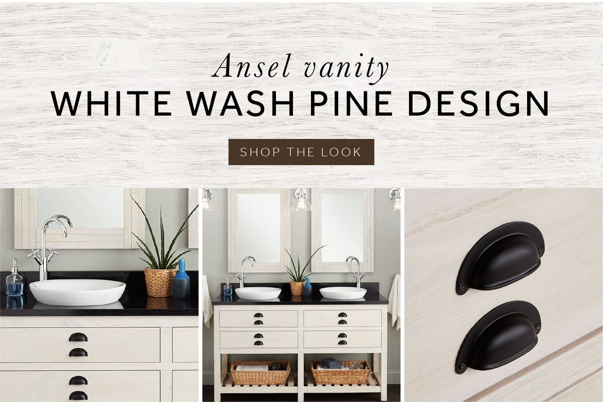 Get enough space for your bathroom with the new Ansel Double Console Vanity in whitewash pine. Customize the countertop and faucet and enjoy the soft-closing, u-shaped drawers that provide an ounce of serenity to daily tasks. Shop the Ansel collection: https://t.co/10BnljbF2y https://t.co/uwKa35TaIA