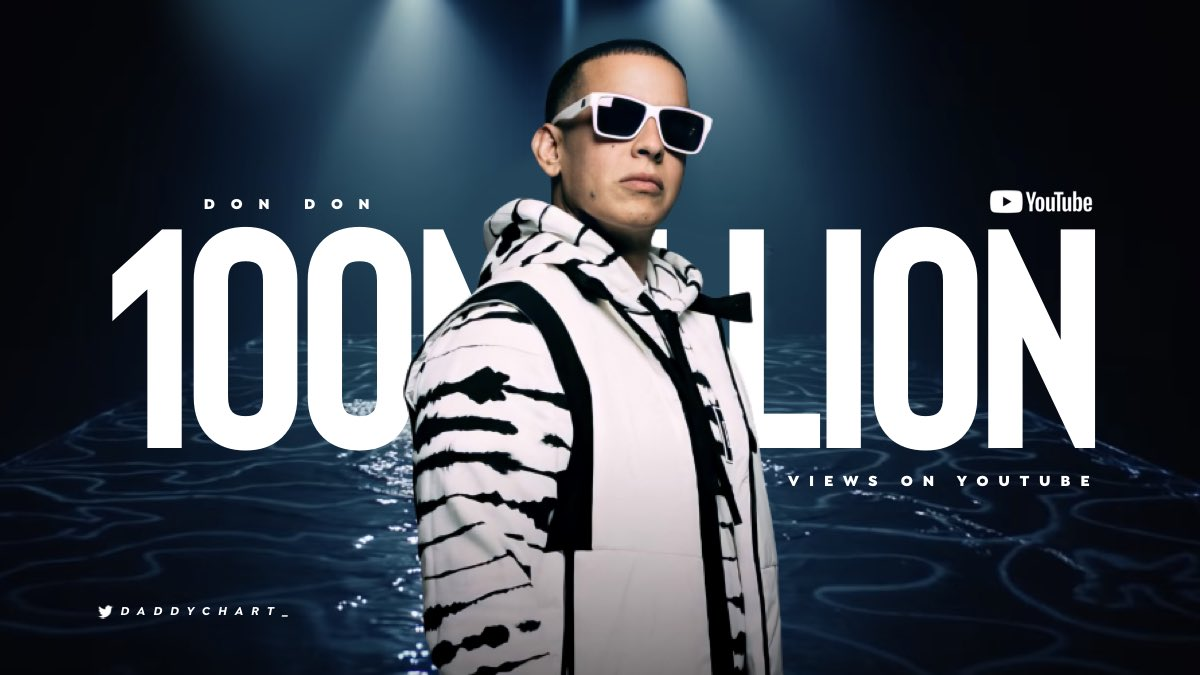 """Don Don"" by Daddy Yankee, Anuel AA & Kendo Kaponi has now surpassed 100M views on YouTube.   — it's Daddy Yankee's 53th video to reach this mark."