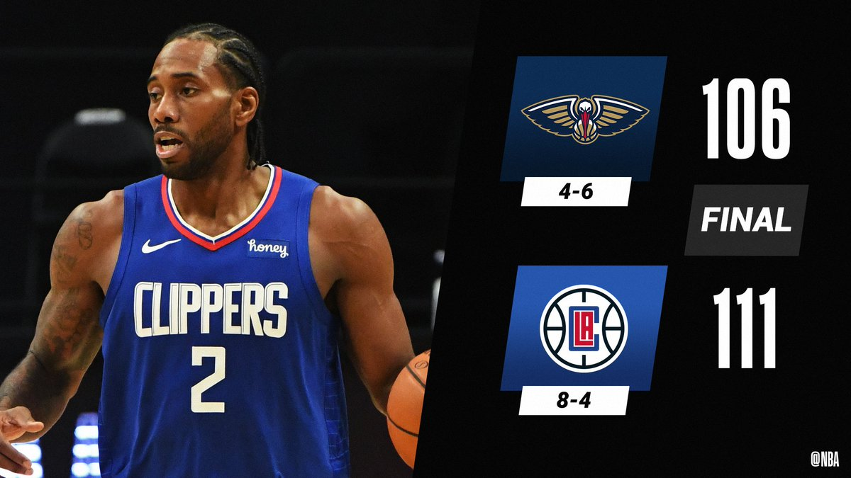 Kawhi (28 PTS, 9 AST, 2 STL) and the @LAClippers improve to 8-4.  Paul George: 27 PTS, 5 3PM Nickeil Alexander-Walker: 37 PTS (career high) https://t.co/P33I8jcpoy