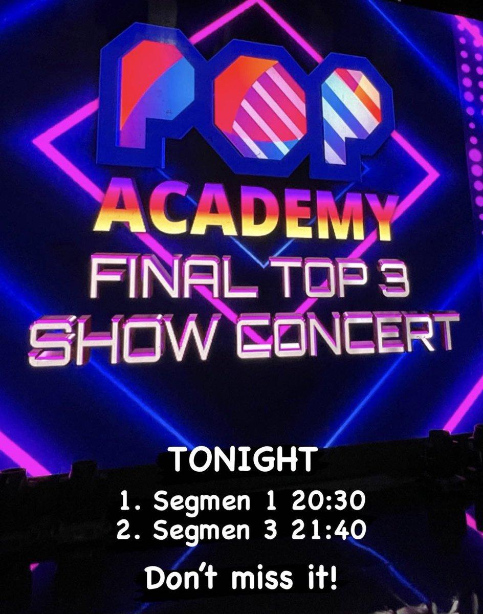 Tonight! Final Top 3 Pop Academy. Segmen 1 pk. 20.30 wib & Segmen 3 pk. 21.40 wib. don't miss it! #AGNEZMO