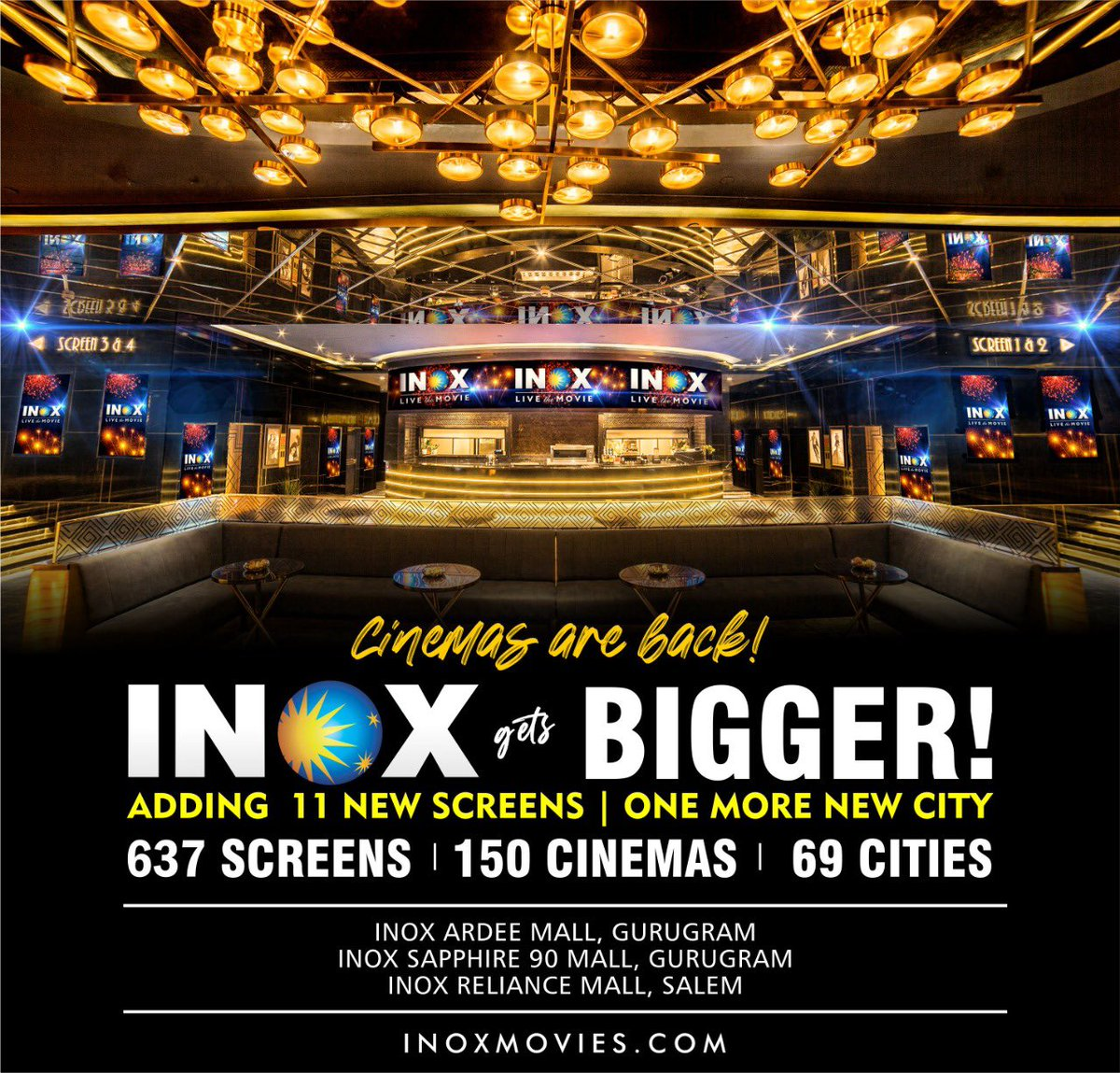 INOX creates history with 3 new properties and 11 new screens in Gurugram (2 properties of 4 screens each) and Salem (1 property of 3 screens), creating a record of sorts, of opening 3 properties on a single day, and also crossing the 150 cinemas milestone! #CinemasAreBack