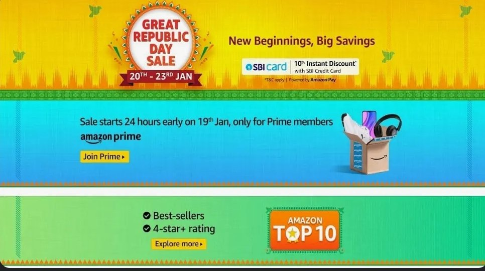 Amazon Great Republic Day Sale Begins on January 20 With Discounts on Smartphones, Electronics, TVs, More. @amazonIN @amazon #amazongreatrepublicdaysale #amazongreatindianfestival