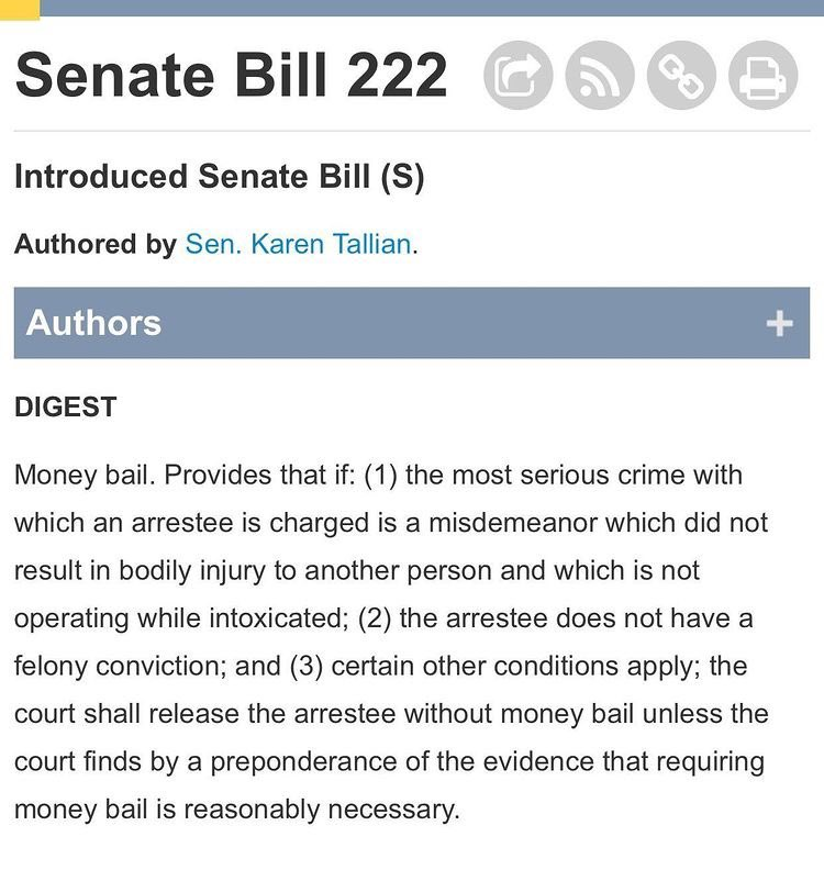 Thank YOU @SenKarenTallian for taking a bold first step in introducing Senate Bill 222.   TO FREEDOM!  #EndCashBail