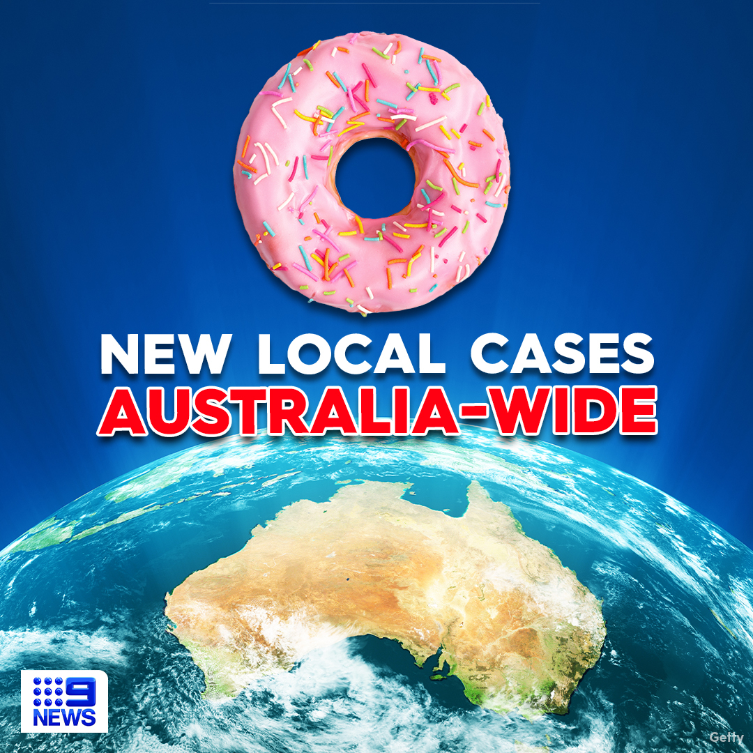 GOOD NEWS: It's a national 'doughnut day' for Australia, with ZERO new cases of COVID-19 community transmission around the country!  Latest alerts: https://t.co/Jluo4kmE9N  Full details, TONIGHT in #9News https://t.co/hnhFXGKFp2