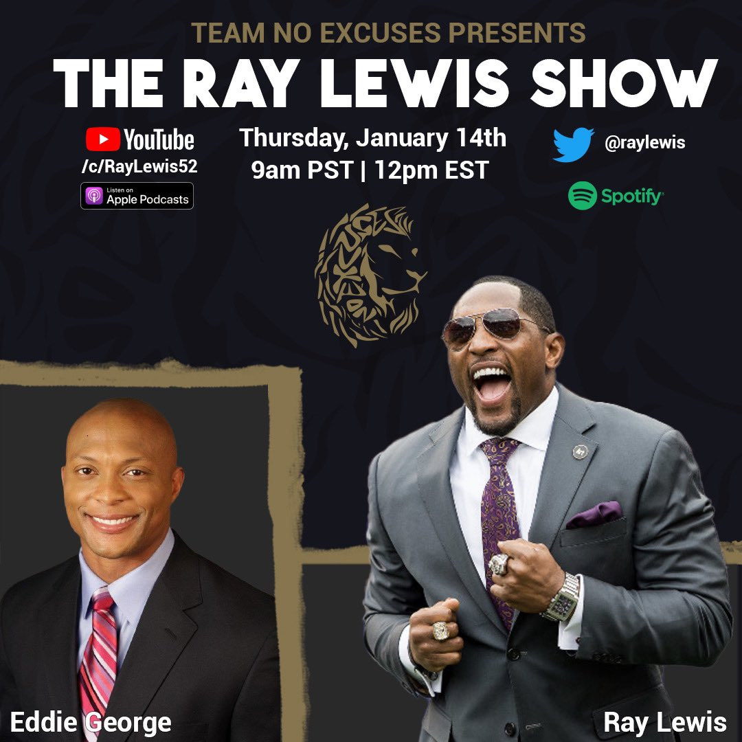 Our next guest on The Ray Lewis show is my friend, the great @eddiegeorge2727.  #heisman #trophy  #alumni   Join us Thursday, at 12 pm (EST) live on the @spotifypodcasts and @applepodcasts platforms.  Also, check it out on Twitter @raylewis and on Youtube.
