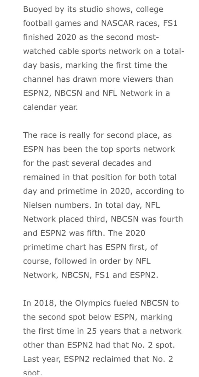For the first time in its 7-plus year history, FS1 finished a calendar year as the second most watched sports network behind ESPN. The SBJ Media newsletter is live: 🔒🔒