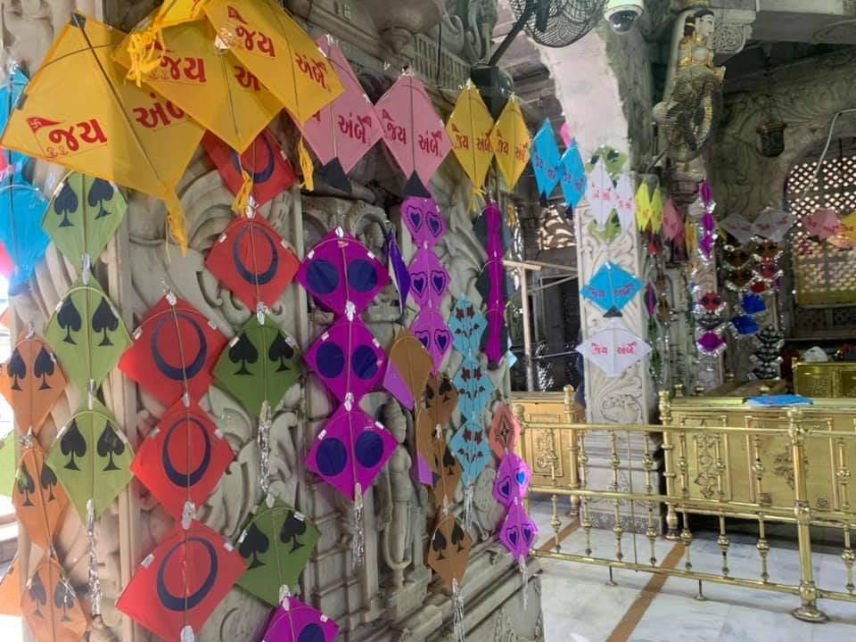 Ambaji, Salangpur Mandirs decorated with kites on Uttarayan