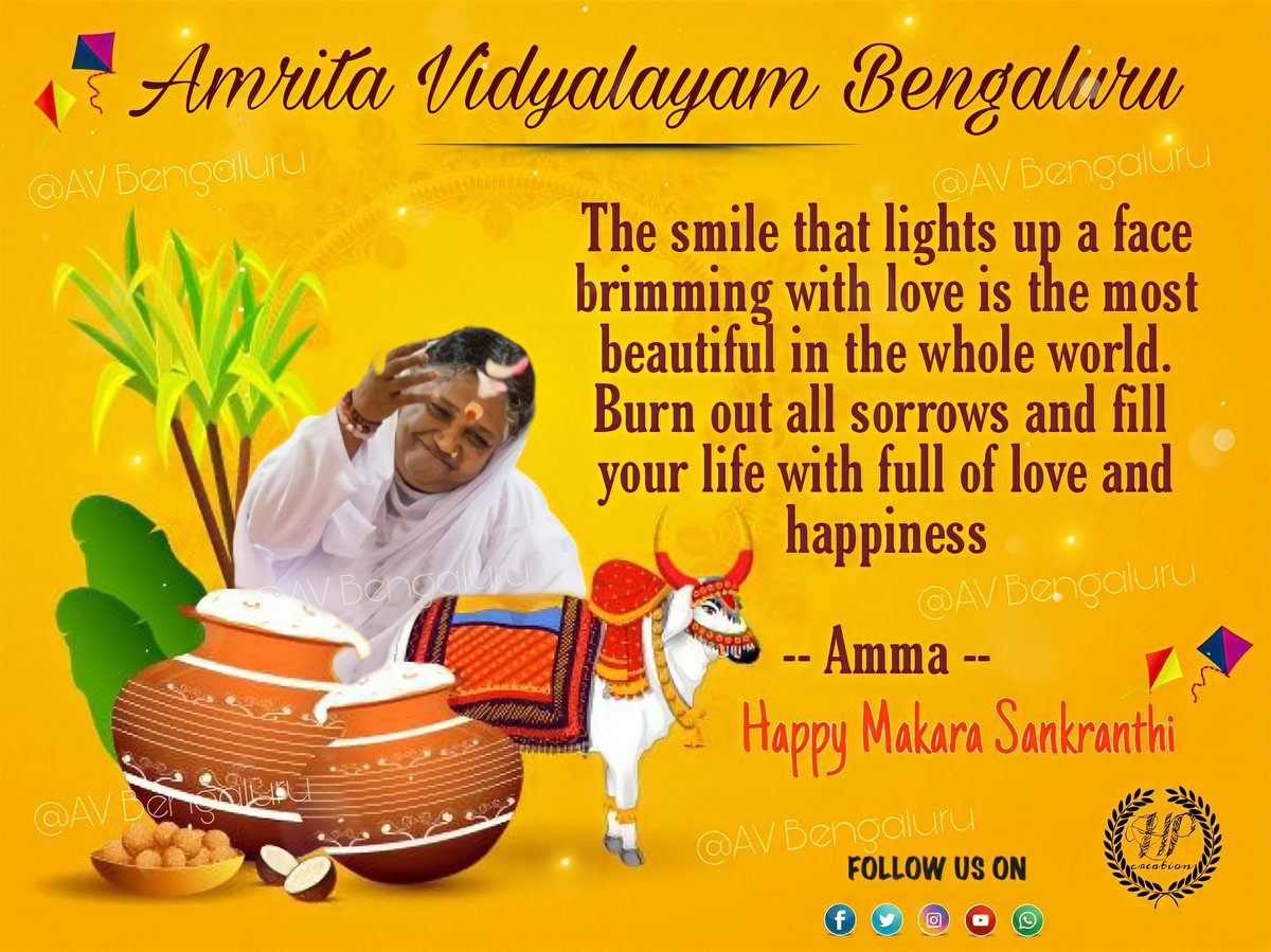 Happy makara shakranthi to all. #amritavidyalayambangalore #Celebration #festivevibes #Sankranti2021 #amma #mataamritanandamayi #peace  @Amritanandamayi @AMRITAedu @AmritaMysore @AmritaMysore @amritaworldorg @Avdavangere1 @AmmaChimes @amritavidya @Amritapuri