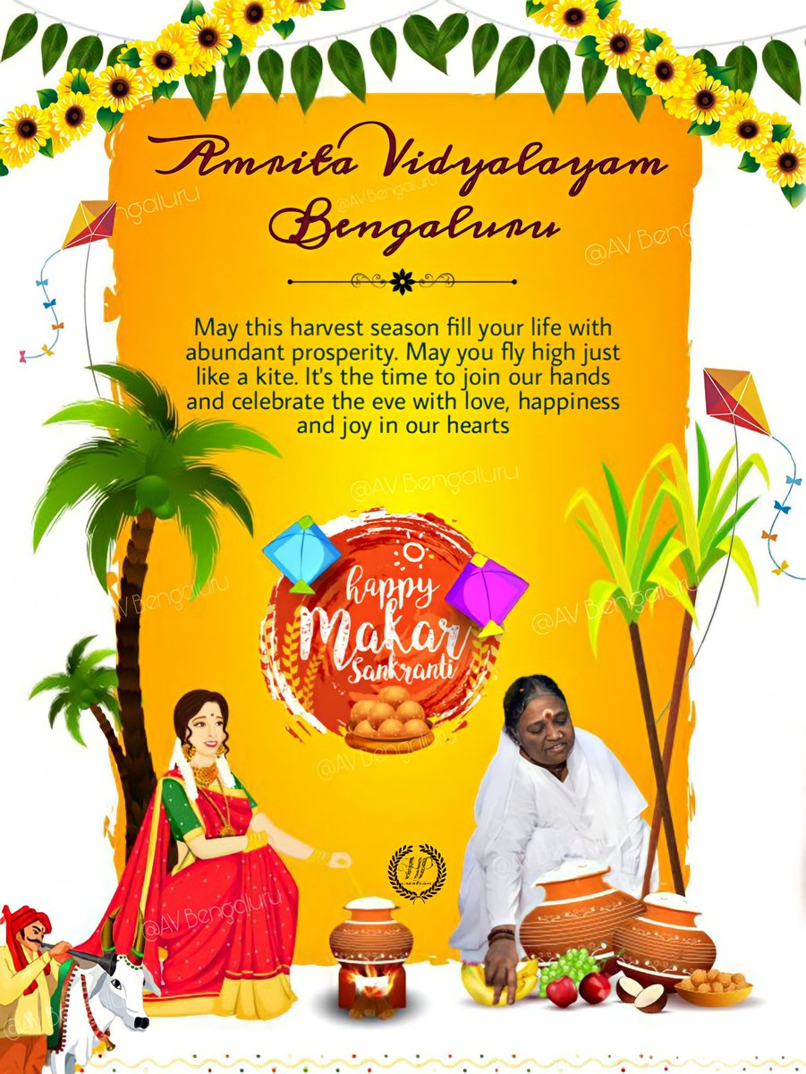 May the light of the sun fill your life with rays of joys on the auspicious occasion of Makara Sankranti #festivevibes #Sankranthi #2021year #mataamritanandamayi #amma #devinemother  @Amritanandamayi @AmritaMysore @amritaworldorg @Avdavangere1 @AmmaChimes @amritavidya @AmmasHeart