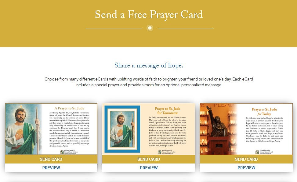 Send one of our thoughtful ePrayer Cards to let a friend know that you are thinking of them:  - #stjude #saintjude #saintjudethaddeus #pray #prayer #stjudeprayforus #catholic #catholicism #catholicfaith #email #devotion #saint #prayercard #thoughtful #card