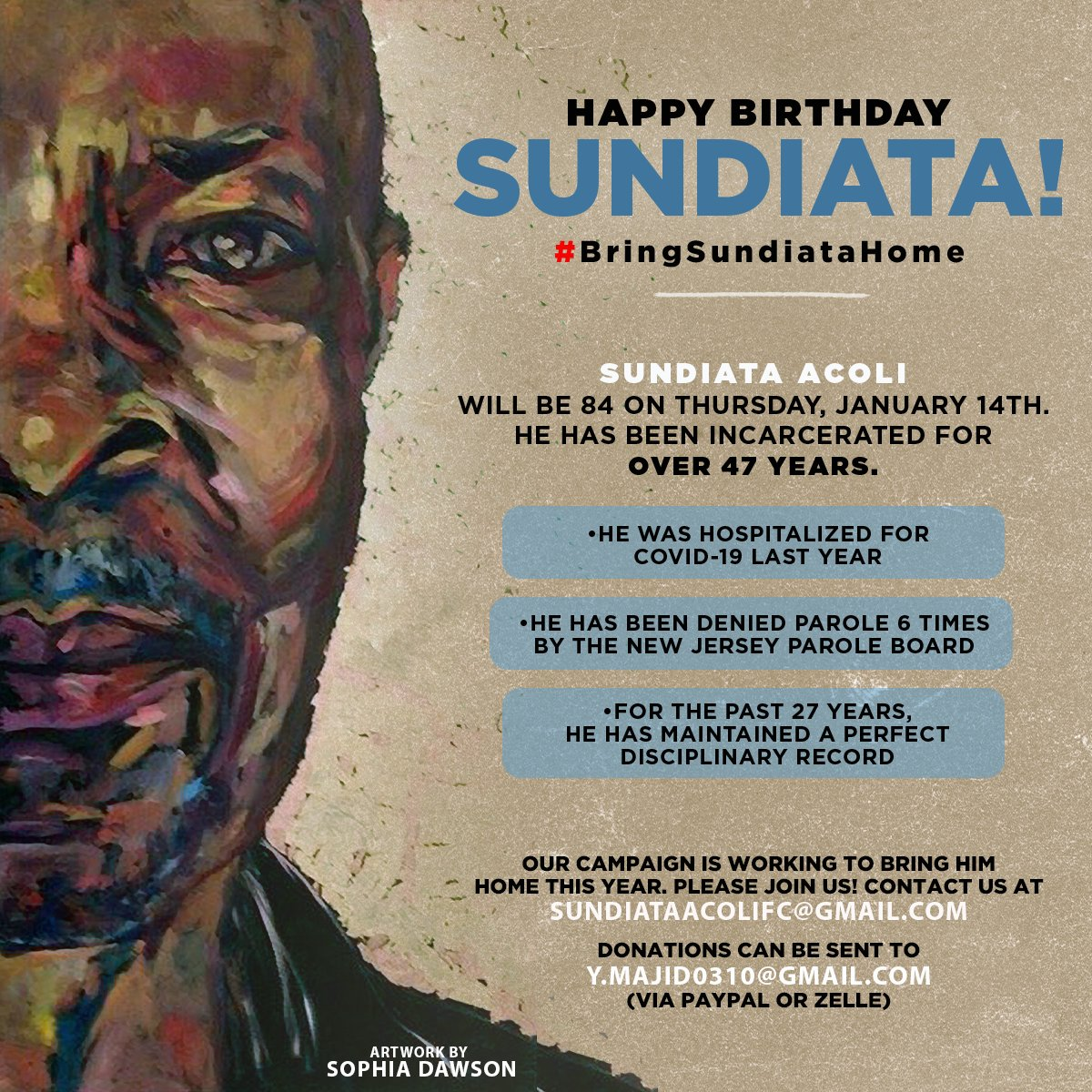 Calling all comrades! Baba Sundiata Acoli will be 84 years old on January 14th & deserves to be free! Sundiata was hospitalized with COVID-19 in April 2020, is an Elder & needs our immediate support. He has been incarcerated for 47 years. Please join us to #BringSundiataHome!!!