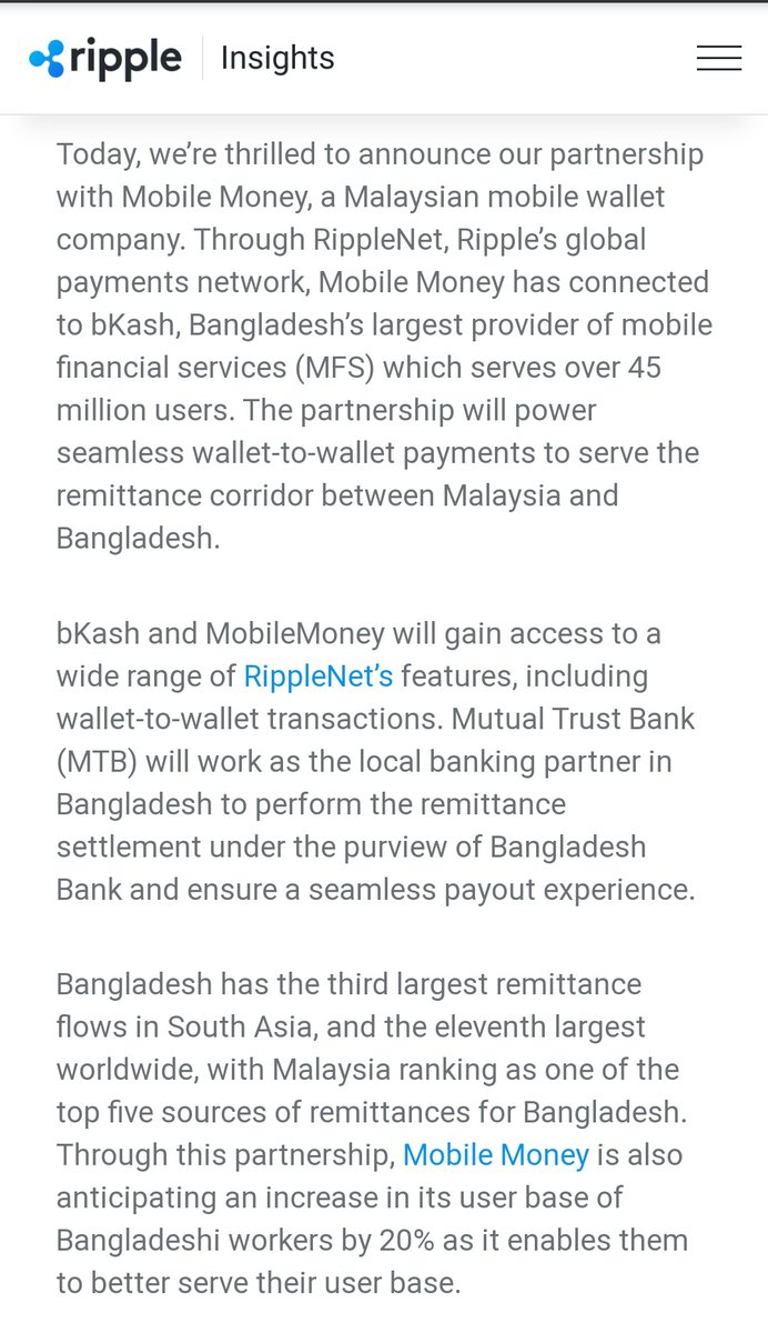 🔥 Ripple just announce a partnership with Mobile Money, a Malaysian mobile wallet company. ripple.com/insights/bkash… #XRP #XRPCommunity #crypto #blockchain