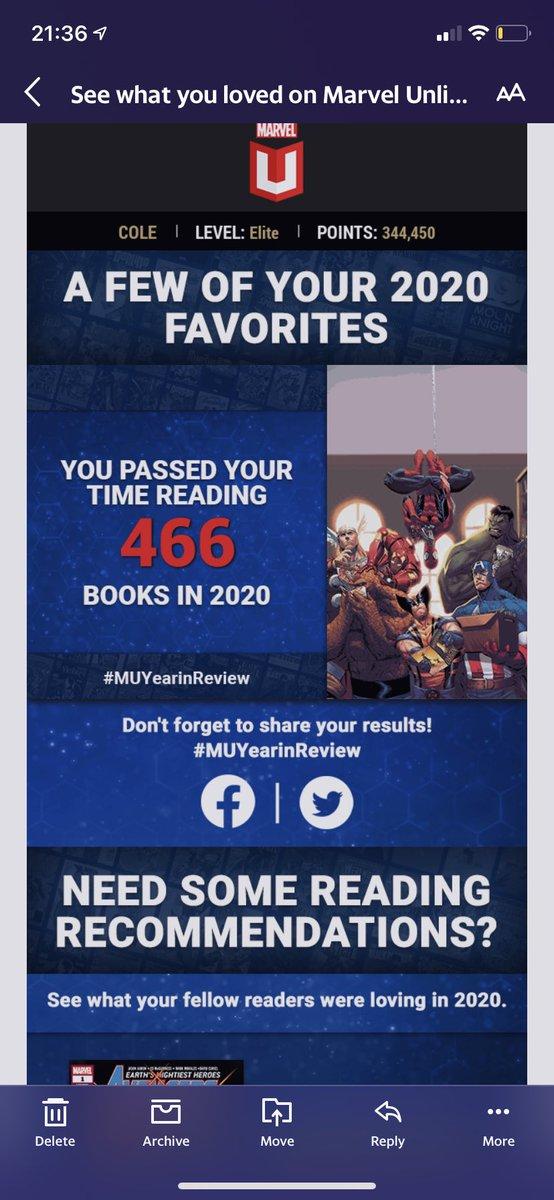@MarvelUnlimited Not sure the time is correct because then it means I spend 12 hours per comic 🤣 The amount of books sounds right though! This app is without a doubt my favorite and has led to me reading basically every book @Marvel publishes #MUYearInReview