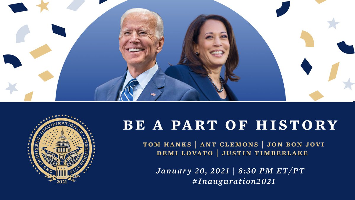 "Following the historic inauguration of @JoeBiden and @KamalaHarris, we will be hosting a special program at 8:30pm ET!  Hosted by @tomhanks, our ""Celebrating America"" event will include performances from @AntClemons, @jonbonjovi, @ddlovato, @jtimberlake, and more!"