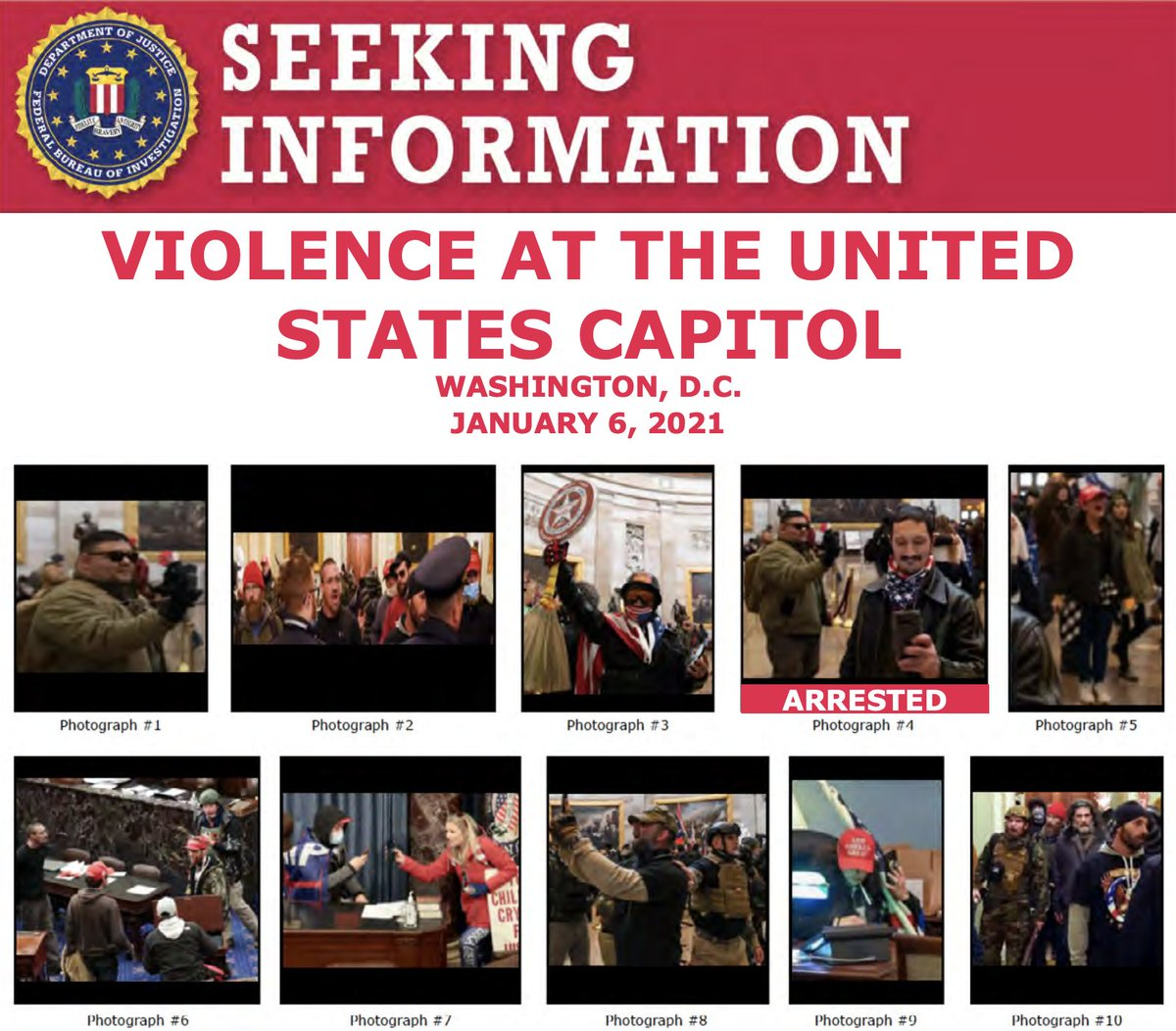 The #FBI and our partners have arrested multiple people who unlawfully entered the U.S. Capitol last week, but we still need the public to help us identify individuals. If you know someone on one of these posters, submit a tip at .