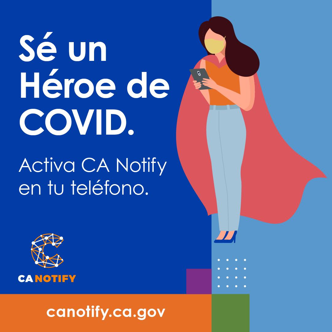 Salvar una vida. Una vez que activa #CANotify, la aplicación hace todo el trabajo. Todo lo que debes hacer es mantener tu Bluetooth activado. Solo recibirás alertas si estuviste cerca de alguien que dio positivo en la prueba de #COVID19. Obtenga más