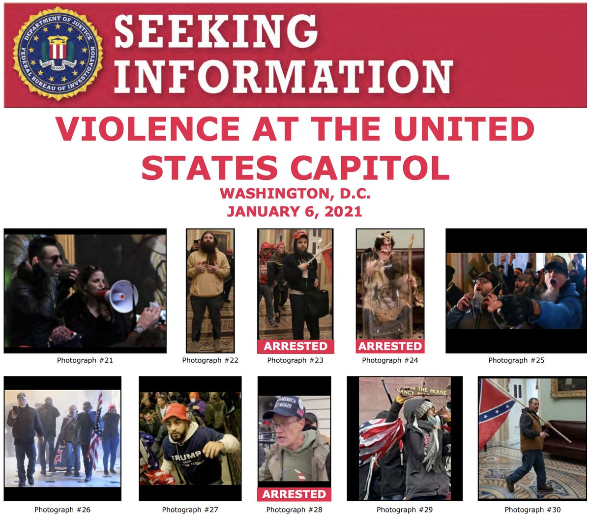 Thank you for your tips! The #FBI & our partners have arrested multiple ppl in connection with violence at the US Capitol last week. We still need the public to help us identify individuals. If you know someone on one of these posters, submit a tip at fbi.gov/USCapitol.