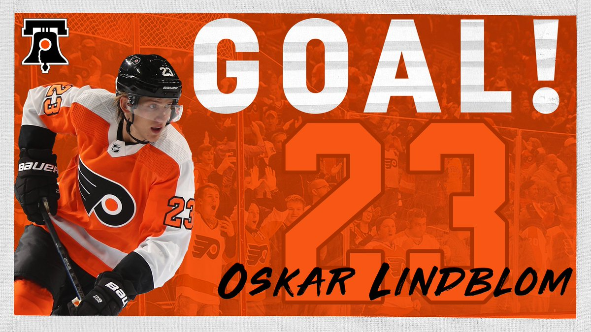 We're posting this way after the fact, but it's worth it because we've waited a long time to be able to say it. Oskar Lindblom is back in the goal column. #FlyersTalk #OskarStrong