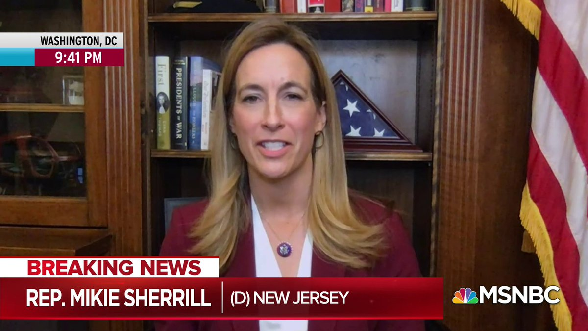"Rep. Sherrill describes how her military training taught her to ""look for things that were out of place, look for things that were odd, and look at them with an eye toward security,"" and how that led her to raise questions about visitors to the Capitol the day before the attack."