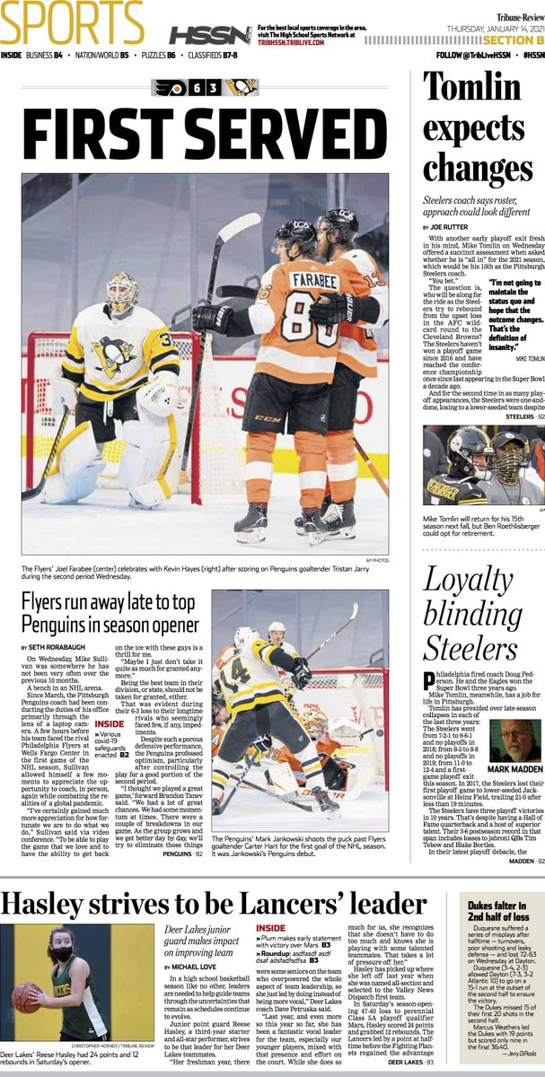Check out the front page of Thursday's @TribSports  #PITvsPHI