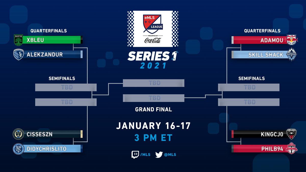THE STAGE IS SET. THE LIGHTS ARE BRIGHT.   Who will emerge as the 2021 #eMLS League Series 1 Champion 🏆?  This Saturday-Sunday |  Jan. 16-17
