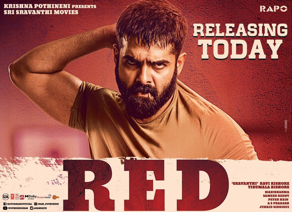 Here's wishing both the films #RED & #AlluduAdhurs releasing today a grand success. @ramsayz #TirumalaKishore @BSaiSreenivas @NabhaNatesh. Rock it guys 💪💪