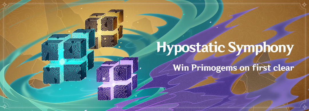 Hypostatic Symphony Event: Win Primogems on 1st Clear! Head to the event Domain & challenge the never-before-seen Pure Hypostases, accumulate points & claim the event-exclusive namecard Celebration: Hypostasis & other rewards. Details: hoyolab.com/genshin/articl… #GenshinImpact