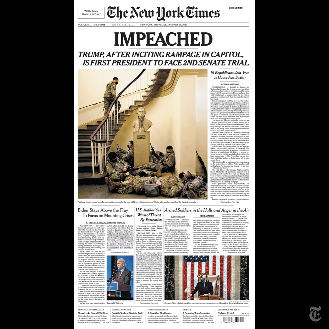 The front page of The New York Times for Jan. 14, 2021 (late edition). https://t.co/9TR51SoK8w