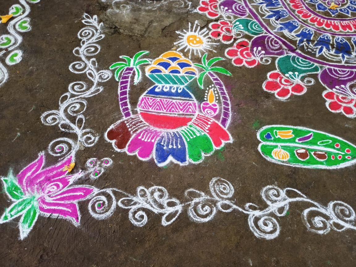 Greetings to all celebrants for a Happy #Pongal! (Pix of decorations outside homes, from a friend in Kancheepuram)