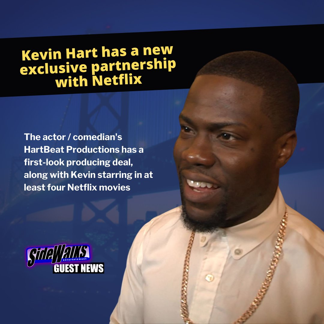 SIDEWALKS GUEST NEWS: #KevinHart.  According to @Deadline, Kevin & his company HartBeat Productions has closed a long-term contract with #Netflix with first-look film producing and Kevin starring in four films he'll produce.  #actor #producer #comedian #production #deal