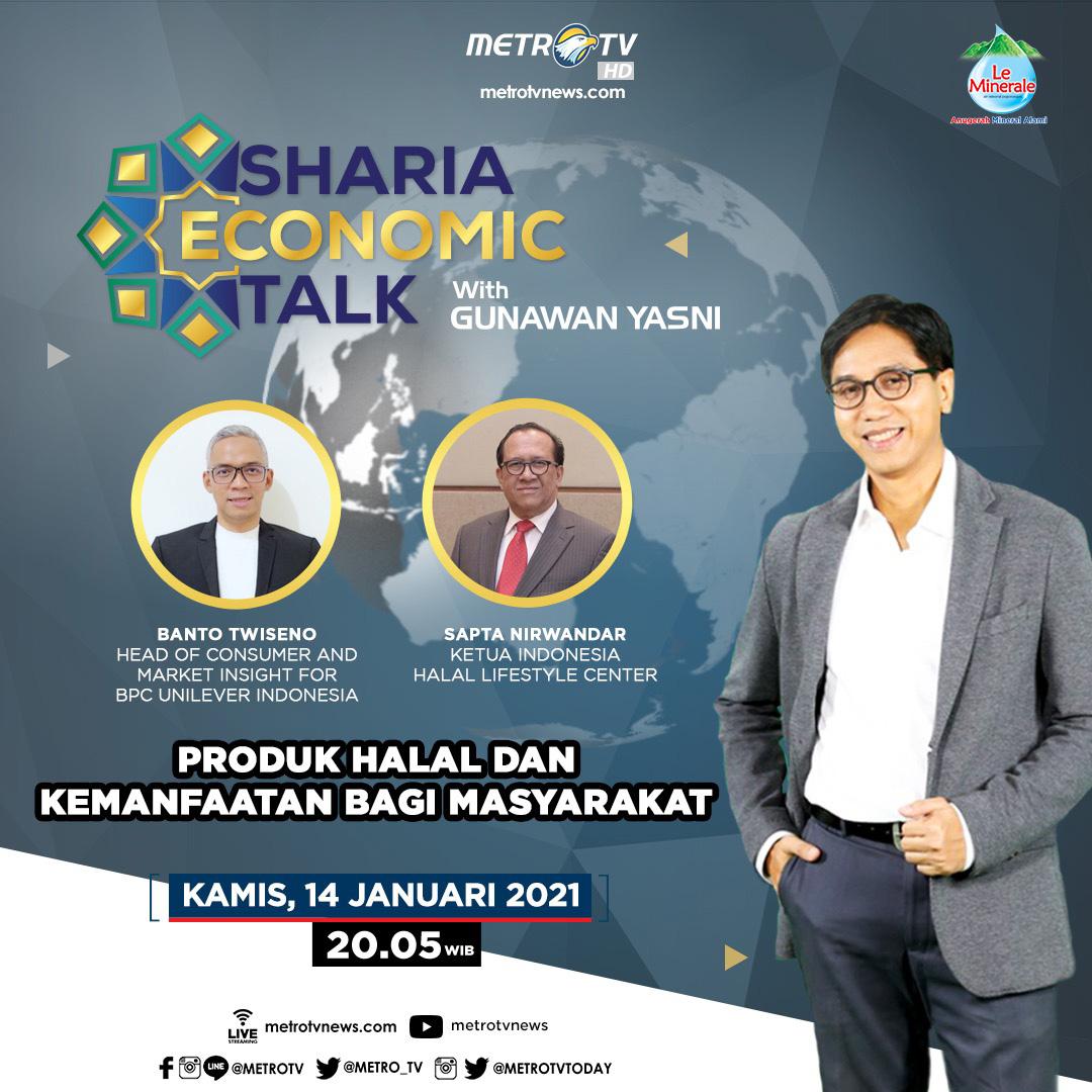 #ShariaEconomicTalkMetroTV hari ini pukul 20.05 WIB akan bahas konsep halalan tayyiban bersama Banto Twiseno (Head of Consumer and Market Insight for BPC Unilever Indonesia) & Sapta Nirwandar (Ketua Indonesia Halal Lifestyle Center). Ikuti juga kuis setelah tayangannya! #MTVNAD