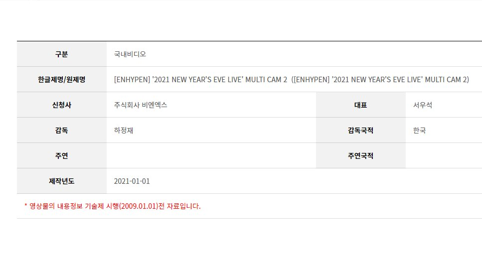 according to KMRB (Korea Media Rating Board), Bighit already submitted videos for NEW YEAR EVE LIVE!!😭  contents that we will get: 1. 2021 NEW YEAR EVE LIVE concert Full Ver  2. ENHYPEN Online Meet and Greet Full Ver 3. ENHYPEN multi cam 1-4 4. ENHYPEN Behind with 2 Parts !!!