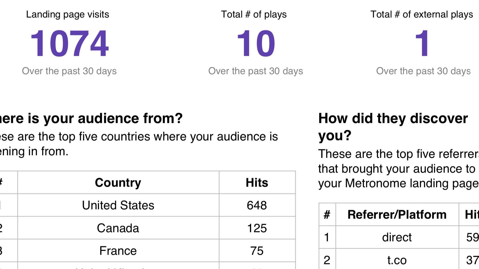 Metronome Insights Report screenshot