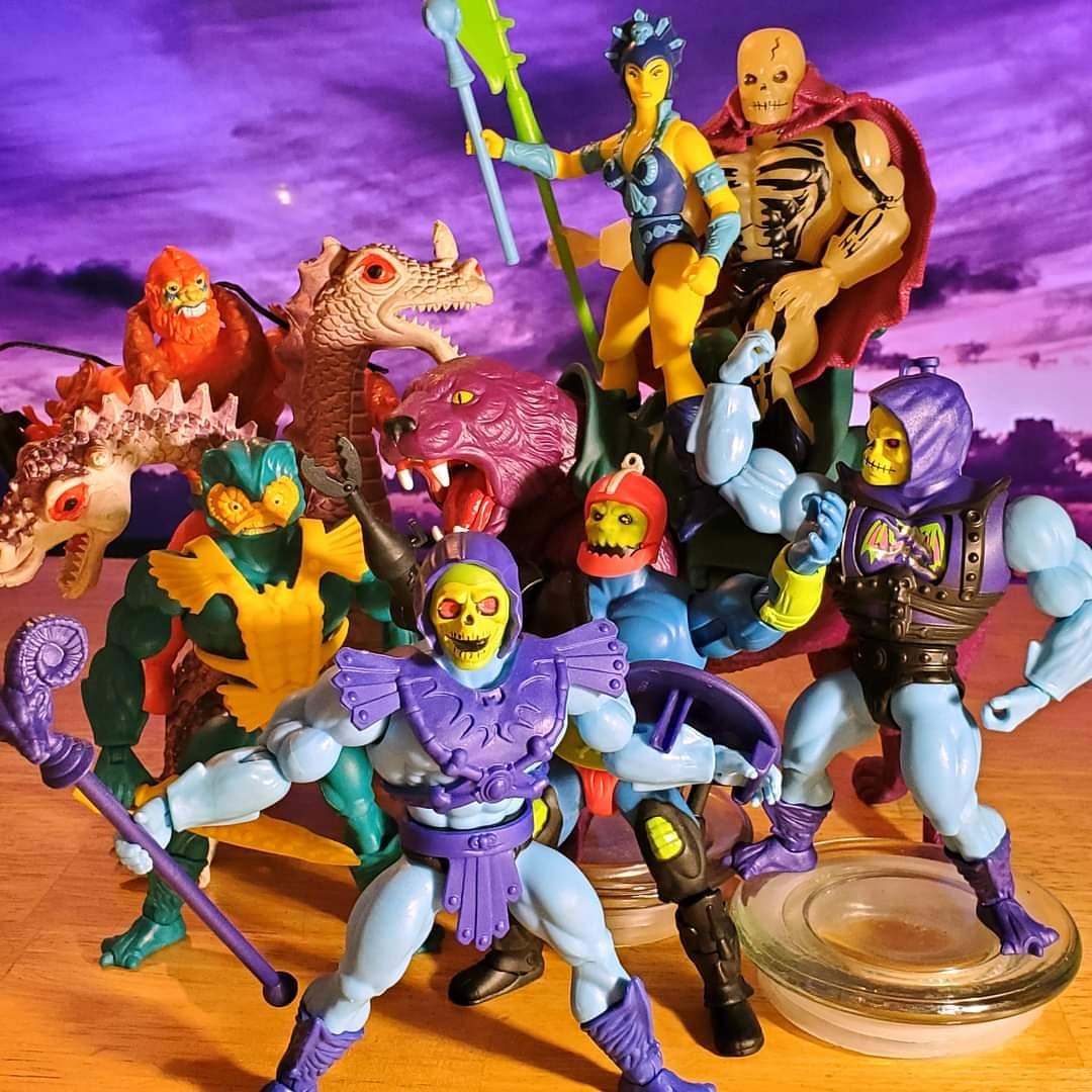 Evil Warriors!!! #motuorigins #skeletor #battlearmorskeletor #scareglow #evillyn #trapjaw #beastman #merman